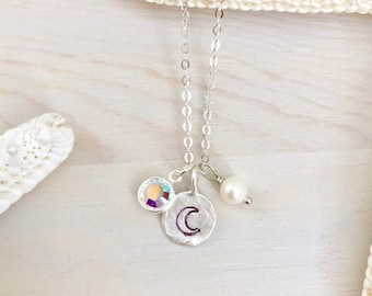 Crescent Moon Necklace - Moon Charm Necklace - Birthstone Necklace - Tiny Charm Necklace - Dainty Moon Necklace - Sterling Silver