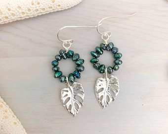 Monstera Pearl Hoop Earrings - Monstera Leaf Jewelry - Keshi Pearl Earrings - Silver Leaf Earrings - Freshwater Pearl - Beach Pearl Earrings