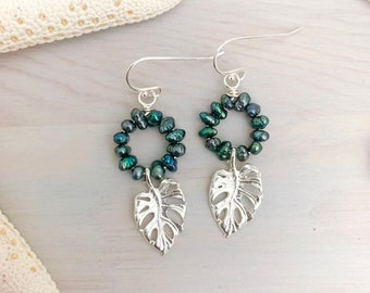 Monstera Pearl Hoop Earrings - Monstera Leaf Jewelry - Keshi Pearl Earrings - Silver Leaf Earrings - Freshwater Pearl - Beach Pearl Earrings