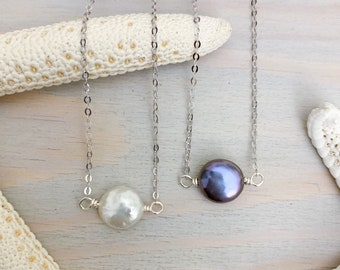 Coin Pearl Necklace - Black Pearl Necklace - Dainty Freshwater Pearl Necklace - Sterling Silver Pearl Jewelry - Pearl Bridal Necklace