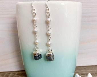 Raw Birthstone and Pearl Earrings - Silver Raw Stone Earrings - Birthstone Jewelry - Long Stone Earrings - Long Pearl Earrings