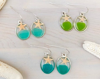 Sea Glass Starfish Earrings - Real Starfish Earrings - Sea Glass Earrings - Beach Glass Earrings - Beach Dangle Earrings - Aqua Sea Glass