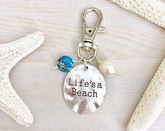 Beach Keychain - Life's a Beach - Silver Stamped Keychain - Ocean Keychain - Summer Bag Charm - Hawaii Keychain - Sea Keychain