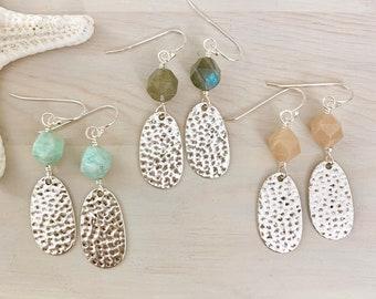 Hammered Silver Earrings - Faceted Gemstone Earrings - Labradorite - Amazonite - Peach Moonstone - Silver Gemstone Dangle Earrings