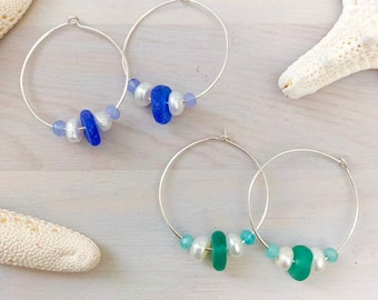 Sea Glass and Pearl Hoop Earrings - Beach Hoop Earrings - Sterling Silver Hoop Earrings - Boho Hoop Earrings - Beach Glass Earrings