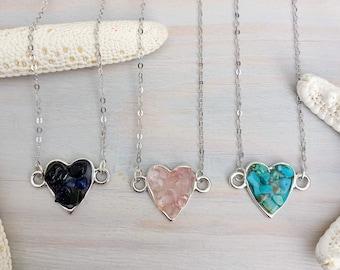 Gemstone Heart Necklace - Raw Gemstone Necklace - Stone Necklace - Raw Stone Necklace - Stone Chip Necklace - Silver Heart Necklace
