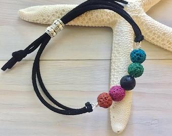 Rainbow Stone Bracelet - Leather Stone Bracelet - Oil Diffuser Bracelet - Aromatherapy Jewelry - Lava Stone Bracelet - Essential Oil Jewelry