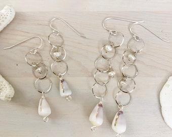 Cone Shell Earrings - Hawaiian Cone Shell - Sterling Silver Hoop Earrings - Seashell Earrings - Beach Hoop Earrings - Long Silver Hoops