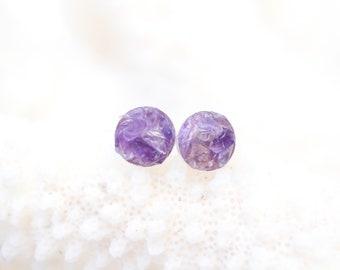 Amethyst Earrings - Raw Stone Earrings - Amethyst Stud Earrings - Genuine Stone Earrings - Stone Stud Earrings - Amethyst Jewelry - Sterling