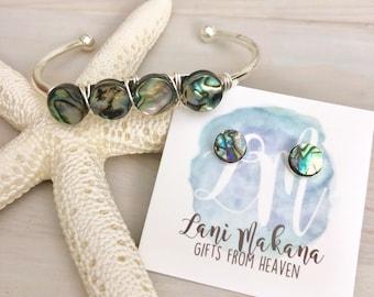 Abalone Jewelry Set - Abalone Earrings - Beach Wedding Jewelry - Paua Shell - Abalone Cuff Bracelet - Beach Gift Set - Beach Jewelry Set