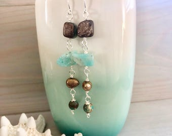 Gemstone and Pearl Dangle Earrings - Raw Stone Dangle Earrings - Long Boho Earrings - Long Gemstone Earrings - Long Stone Earrings - Aqua