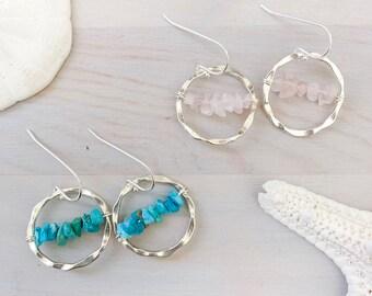 Gemstone Hoop Earrings - Gemstone Chip Earrings - Silver Hoop Earrings - Small Hoop Earrings- Turquoise - Moonstone -Aquamarine -Rose Quartz
