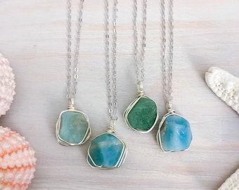 Wire Wrapped Amazonite Necklace - Raw Stone Necklace - Wrapped Gemstone Pendant - Beach Necklace - Mermaid Jewelry