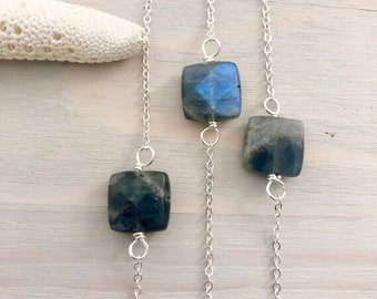 Labradorite Necklace - Dainty Stone Necklace - Minimal Necklace - Layering Necklace - Simple Stone Necklace - Sterling Silver Necklace