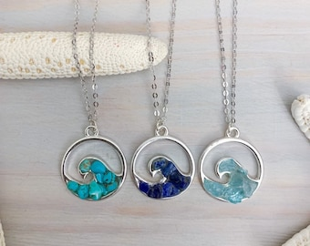 Gemstone Wave Necklace - Beach Necklace - Resin Pendant Necklace - Wave Jewelry - Beach Resin Jewelry - Silver Wave Necklace - Sea Jewelry