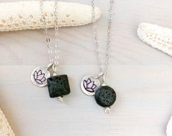 Lava Stone Pendant Necklace - Diffuser Necklace - Lotus Charm Necklace - Essential Oil jewelry - Aromatherapy Necklace - Lava Charm Necklace