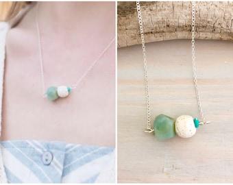 Raw Stone Bar Necklace - Lava Bead Necklace - Aqua Stone Necklace - White Lava Stone Necklace - Amazonite Sterling Silver - Oil Diffuser