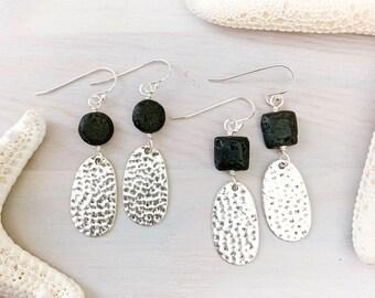 Lava Stone Earrings - Teardrop Hoop Earrings - Stone Hoop Earrings - Diffuser Earrings - Silver Hoop Earrings - Essential Oil Jewelry