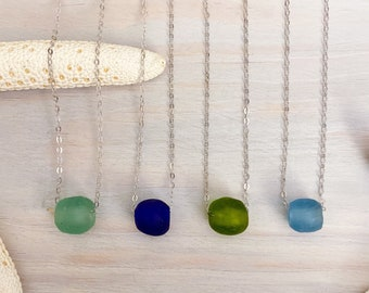 Recycled Glass Necklace - Beach Glass Necklace - Sea Glass Jewelry - Glass Bead Necklace