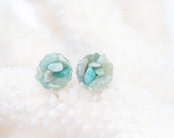 Raw Stone Earrings - Aventurine Earrings - Genuine Stone Earrings - Stone Stud Earrings - Green Stud Earrings - Green Stone Earrings