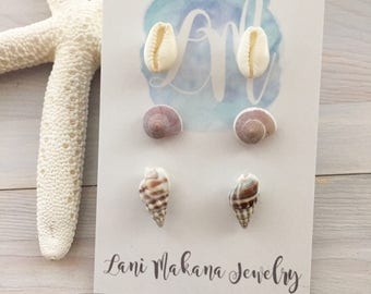 Beach Earring Set - Earring Gift Set - Seashell Stud Earrings - Shell Earrings - Beach Stud Earrings - Seashell Earrings - Ocean Earrings