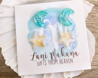 Resin Stud Earrings - Blue Galaxy Earrings - Moon and Star Stud Earrings - Resin Pour Jewelry - Stainless Steel Studs - Gold Star Earrings