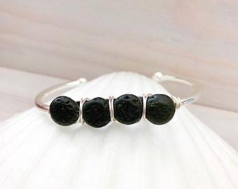 Lava Stone Bracelet - Cuff Bracelet - Black Stone Bracelet - Diffuser Bracelet - Essential Oil Jewelry - Stone Cuff - Lava Stone Jewelry