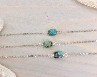 Turquoise Necklace - Sterling Silver Turquoise Necklace - Dainty Stone Necklace - Raw Gemstone Necklace - December Birthstone
