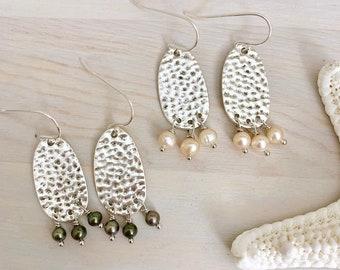 Silver Pearl Earrings - Hammered Silver Earrings - Pearl Fringe Earrings - Beach Earrings - Freshwater Pearl -Sterling Silver Pearl Earrings