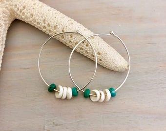 Sterling Silver Hoop Earrings - Puka Shell Earrings - Beach Hoop Earrings - Silver Shell Earrings - Seashell Hoop Earrings - Beach Earrings