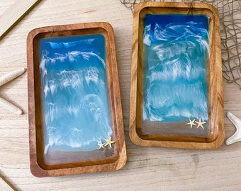 Beach Resin Tray - Acacia Wood - Ocean Wood Tray - Seascape Resin Art - Trinket Dish - Resin Art Bowl