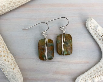 Wire Wrapped Stone Earrings - Green Jasper Earrings - Boho Stone Earrings - Stone Dangle Earrings - Bohemian Earrings