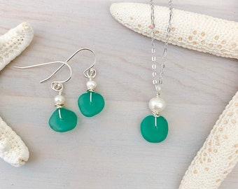 Sea Glass and Pearl Jewelry Set - Genuine Sea Glass Jewelry - Sea Glass Necklace - Beach Glass Jewelry - Aqua Sea Glass - Seafoam Sea Glass