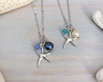 Pearl Starfish Necklace - Silver Starfish Necklace - Starfish Charm Necklace - Beach Charm Necklace - Ocean Charm Necklace