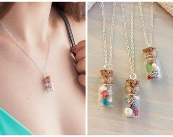 Beach Bottle Necklace - Seashell Bottle Necklace - Hawaiian Shell Jewelry - Beach in a Bottle - Beach Vacation Necklace - Genuine Seashells