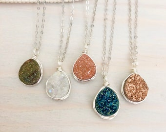 Natural Druzy Necklace - Mini Druzy Teardrop Necklace - Natural Stone Pendant - Sterling Silver Druzy - Wire Wrapped Stone Necklace