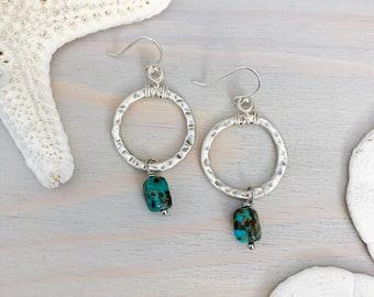 Gemstone Hoop Earrings - Turquoise Earrings - Silver Hoop Earrings - Small Hoop Earrings- Turquoise Hoops - Turquoise Stone Earrings