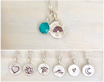 Stamped Birthstone Charm Necklace - Silver Stamped Necklace - Personalized Necklace - Custom Charm Necklace - Silver Charm Necklace