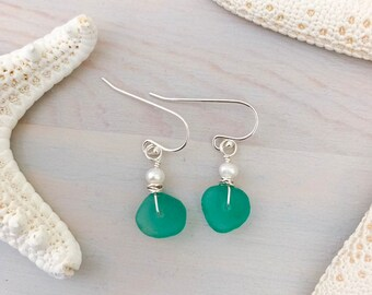 Sea Glass and Pearl Earrings - Genuine Sea Glass Earrings - Aqua Sea Glass - Beach Glass Earrings - Real Sea Glass - Natural Seaglass