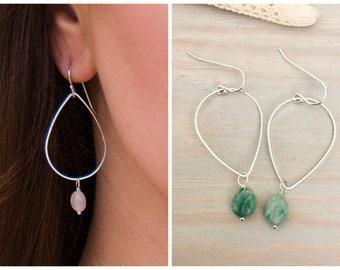 Teardrop Hoop Earrings - Reversible Teardrop Earrings - Stone Hoop Earrings - Silver Hoop Earrings - Gemstone Hoop Earrings - Stone Teardrop