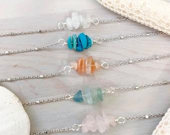 Dainty Stone Necklace - Sterling Silver - Stone Chip Necklace - Gemstone Necklace - Turquoise - Moonstone - Aquamarine - Rose Quartz