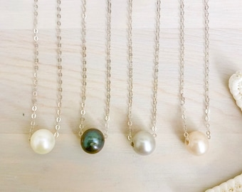 Floating Pearl Necklace - Black Pearl Necklace - Dainty Freshwater Pearl Necklace - Sterling Silver Pearl Jewelry - Pearl Bridal Necklace