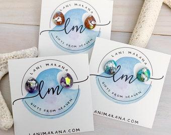 Teardrop Stone Stud Earrings - Raw Stone Earrings - Sterling Silver Stud Earrings - Stone Stud Earrings - Mini Stone Earrings - Raw Gemstone