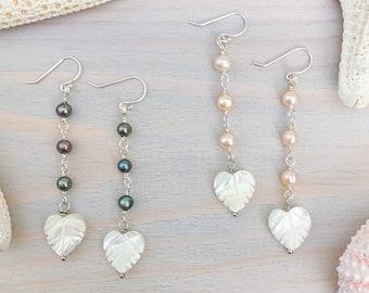 Mother of Pearl Leaf Earrings - Monstera Earrings - Freshwater Pearl Earrings - Long Pearl Earrings - Sterling Silver Pearl Earrings