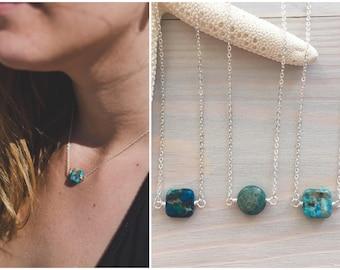 Gemstone Layering Necklace - Beach Stone Necklace - Dainty Boho Necklace - Sterling Silver Stone Necklace - Beach Boho - Sea Sediment Jasper