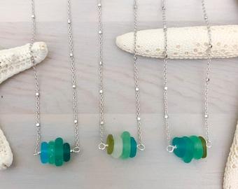 Sea Glass Chip Necklace - Beach Glass Necklace - Beach Necklace - Sea Glass Jewelry - Simple Sea Glass Necklace - Genuine Seaglass