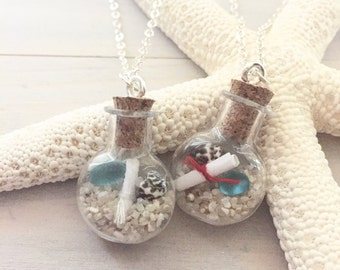 Beach Bottle Necklace - Beach Necklace - Valentines Necklace - Ocean Necklace - Message in a Bottle Necklace - Love Note Necklace