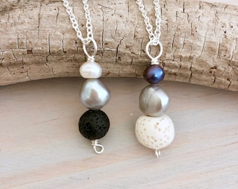 Lava Pendant Necklace - Freshwater Pearl Lava Stone Bar Necklace - Diffuser Necklace - Essential Oil jewelry - Aromatherapy Necklace - Ombré