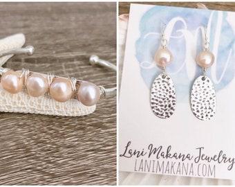 Freshwater Pearl Jewelry Set - Pearl Earrings - Beach Wedding Jewelry - Pearl Cuff Bracelet - Beach Gift Set - Beach Jewelry Set