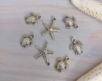 Silver Beach Charms - Jewelry Supplies Destash - Wholesale Jewelry Supplies - Sea Turtle Charm - Starfish Charms